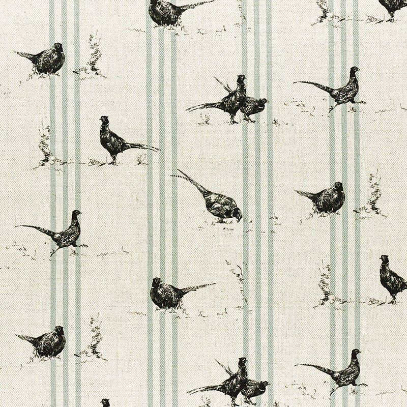 Milton and Manor Pheasant Fun with Duck Egg stripes fabric
