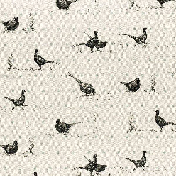 Milton and Manor Pheasant Fun with Duck Egg spots fabric