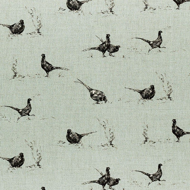 Milton and Manor Pheasant Fun on Duck Egg fabric