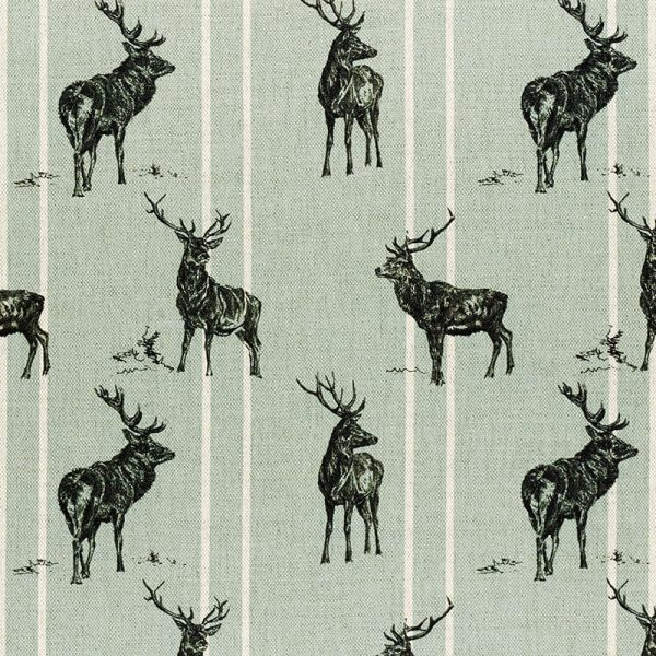 Milton and Manor Stag Parade Stripe on Duck Egg Fabric