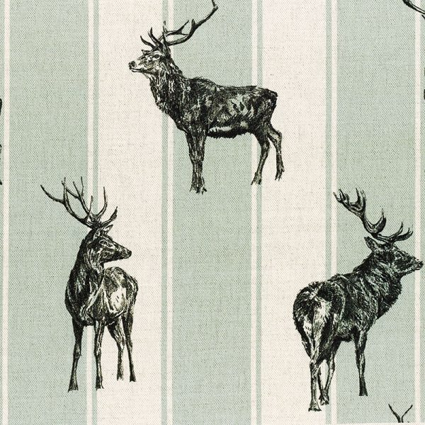 Milton and Manor Stag Parade Large Stripe on Duck Egg Fabric