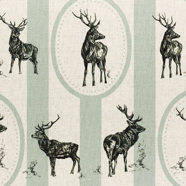 Milton and Manor Stag Parade Oval and Stripe on Duck Egg Fabric
