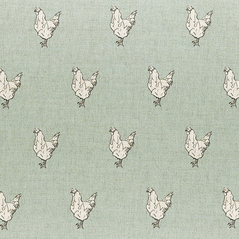 Milton and Manor Chicken on Duck Egg Fabric