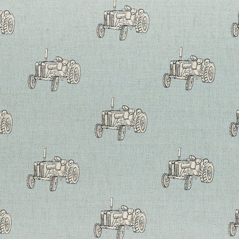 Milton and Manor Vintage Tractor on Blue Fabric