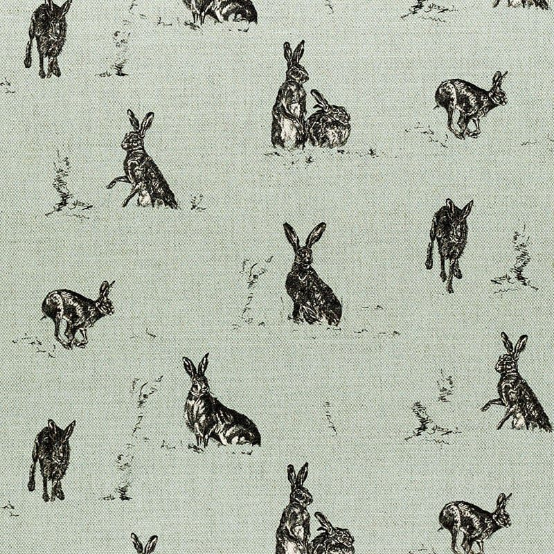 Milton and Manor Hare Capers on Duck Egg fabric