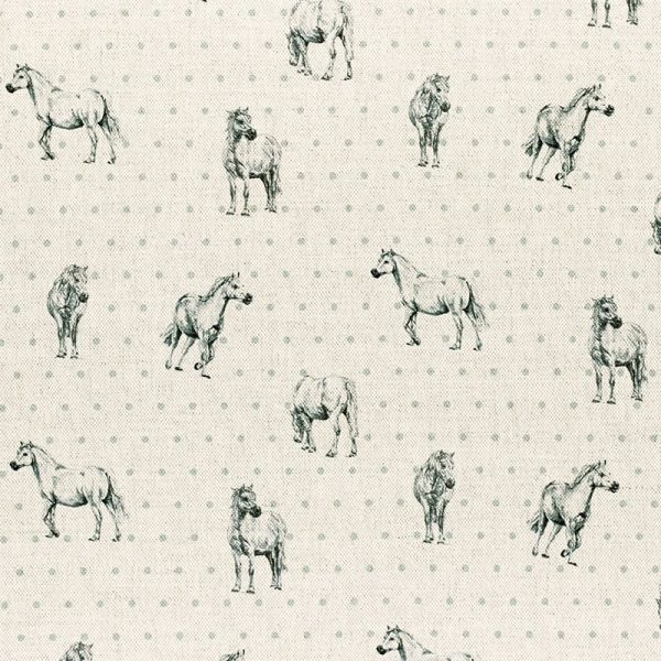 Milton and Manor Grey Pony Small with Duck Egg Spots fabric