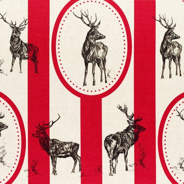 Milton and Manor Stag Parade Oval and Stripe on Red Fabric