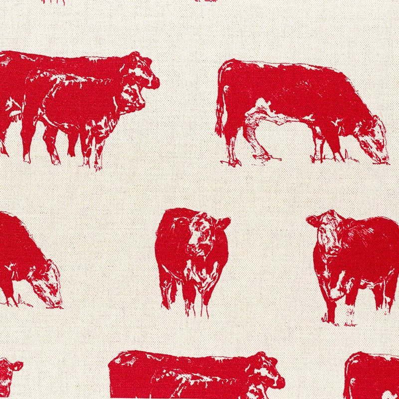 Milton and Manor Hereford Cow Red Fabric