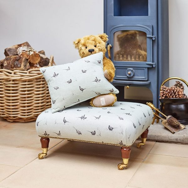 Milton and Manor Pheasant on duck egg small footstool