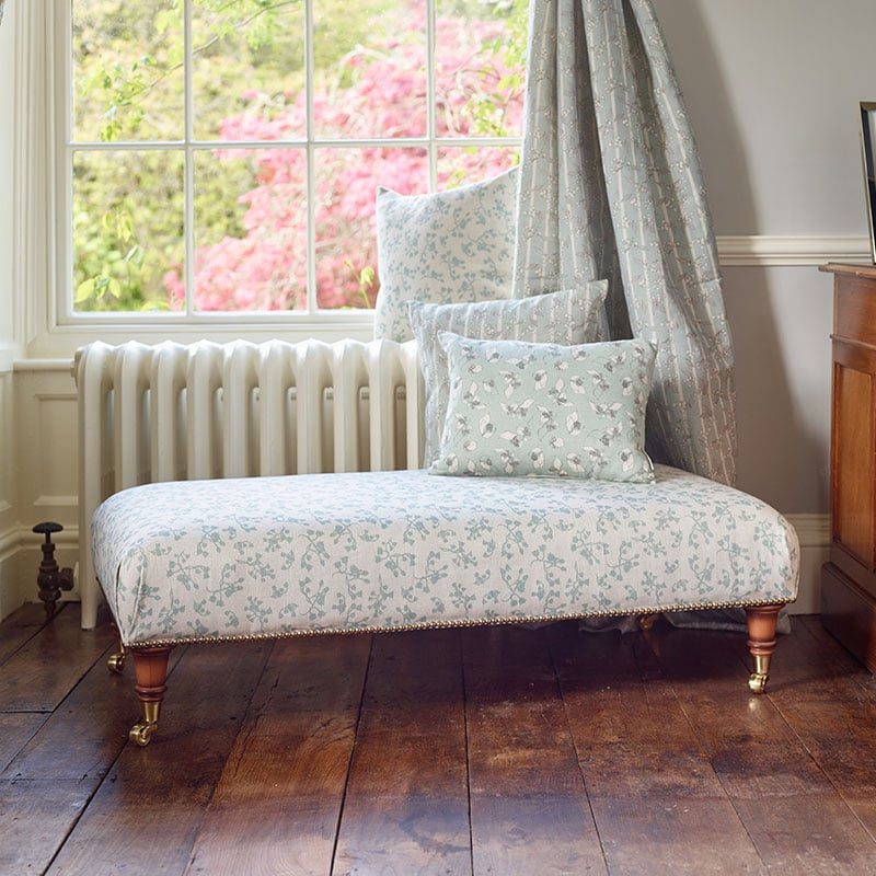 Milton and Manor blue berries rectangle footstool