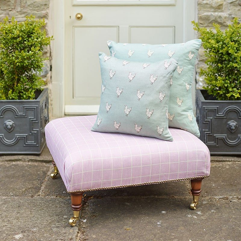 Milton and Manor check on pink square footstool