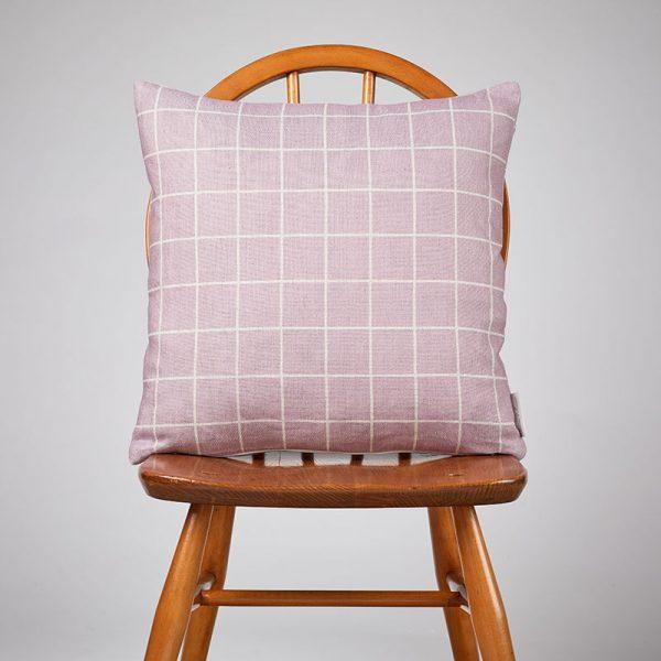 Milton and Manor Pink check medium cushion