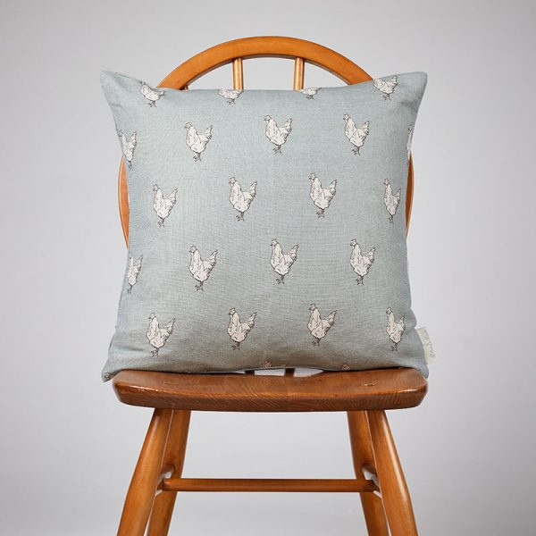 Milton and Manor Chicken on Duck Egg medium cushion