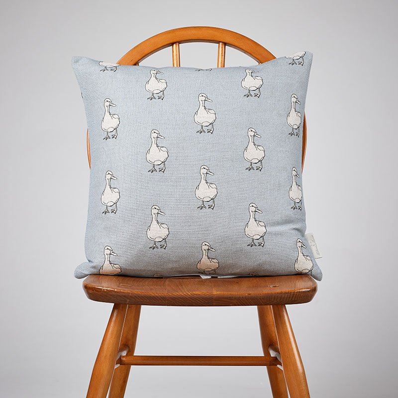 Milton and Manor Duck on Blue Medium Cushion