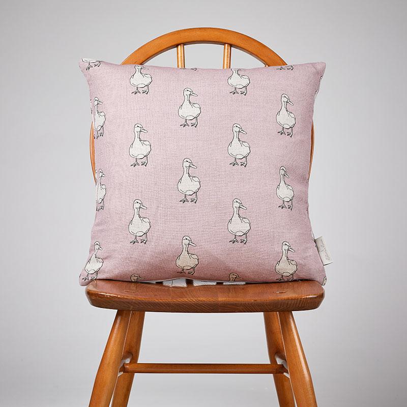 Milton and Manor Duck on Pink medium cushion