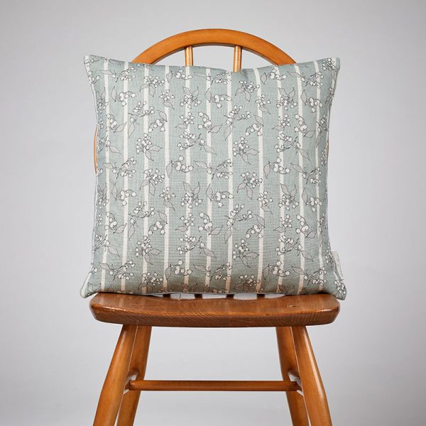 Milton and Manor Hedera Duck Egg Stripe medium cushion