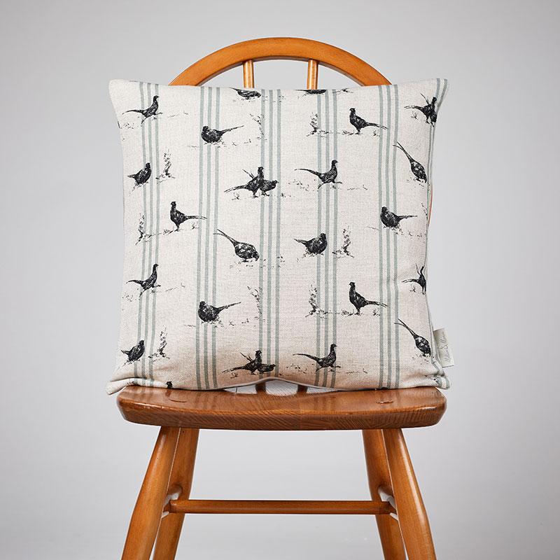 Milton and Manor Medium Cushion Pheasant Fun with Duck Egg stripes