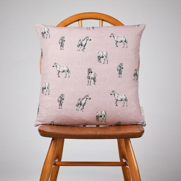 Milton and Manor Pony on Pink Medium Cushion
