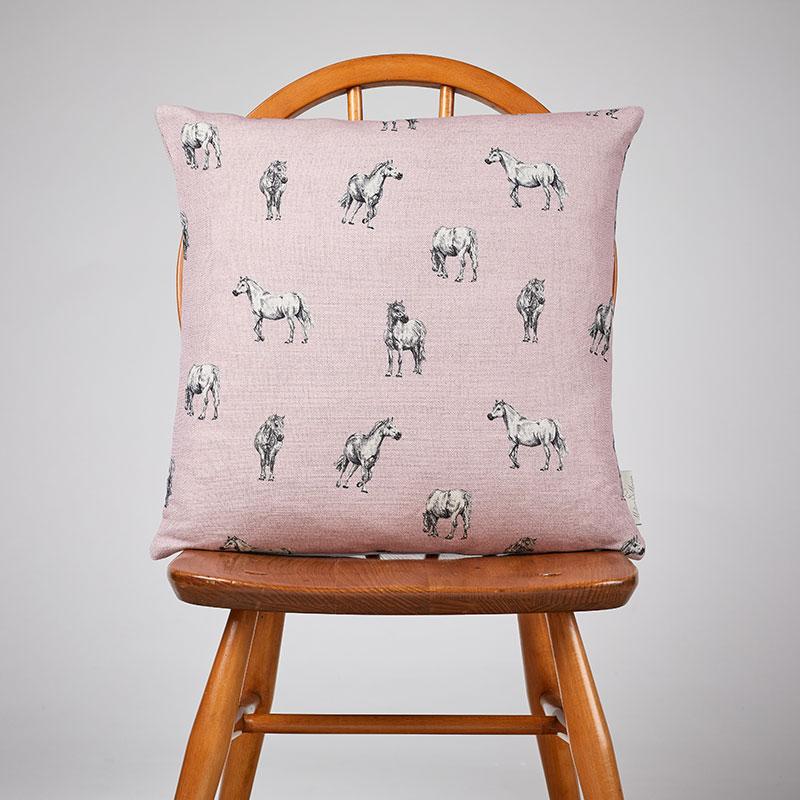 Milton and Manor Pony on Pink Medium Cushion