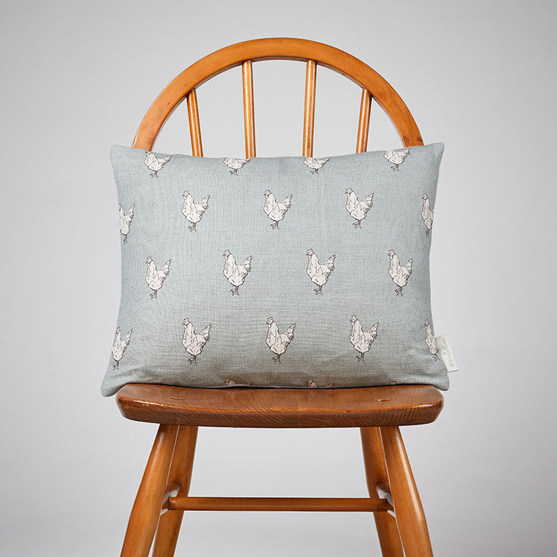 Milton and Manor Chicken on Duck Egg rectangle cushion