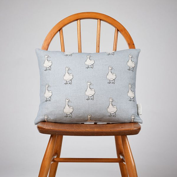 Milton and Manor Duck on Blue Rectangle Cushion