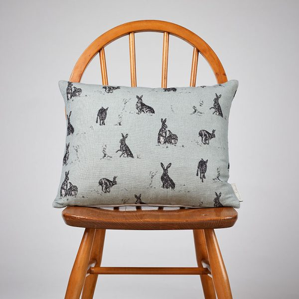 Milton and Manor Hare Capers on Duck Egg rectangle cushion