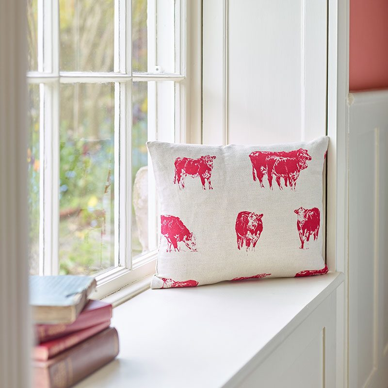 Milton and Manor Hereford cow rectangle cushion