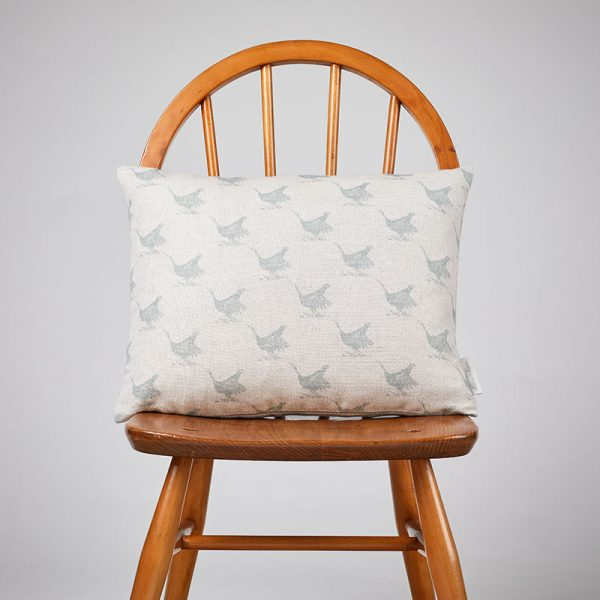 Milton and Manor Pheasant Duck Egg Sketch Rectangle Cushion