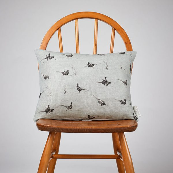 Milton and Manor Pheasant Fun on Duck Egg rectangle cushion