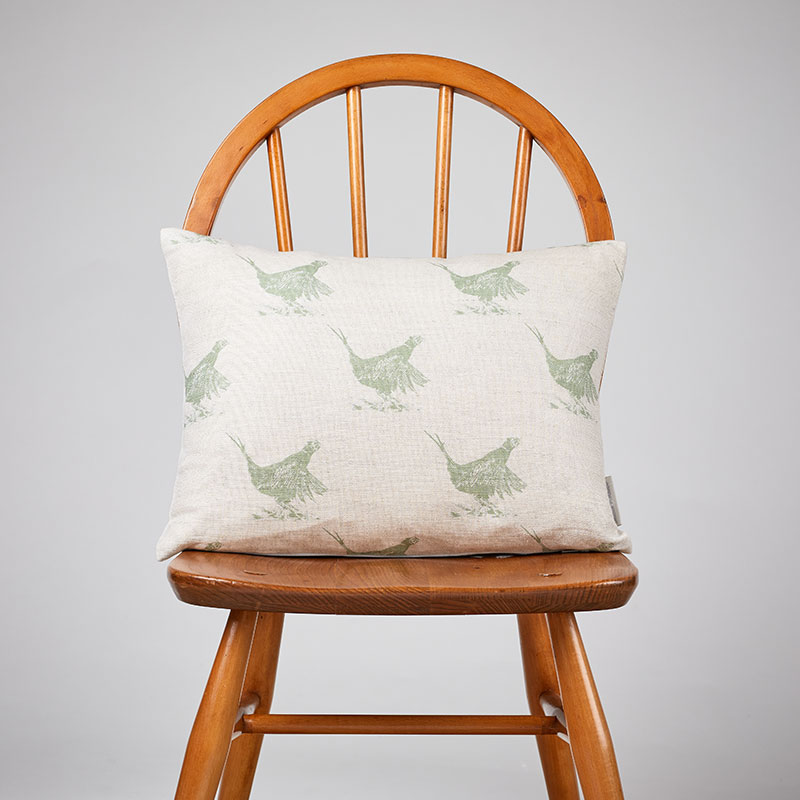 Milton and Manor Pheasant Green Sketch Rectangle Cushion