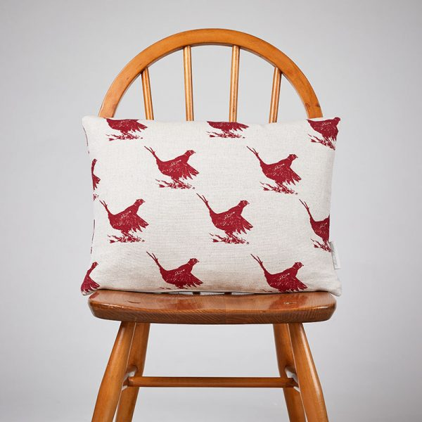 Milton and Manor Pheasant Red Sketch Rectangle Cushion
