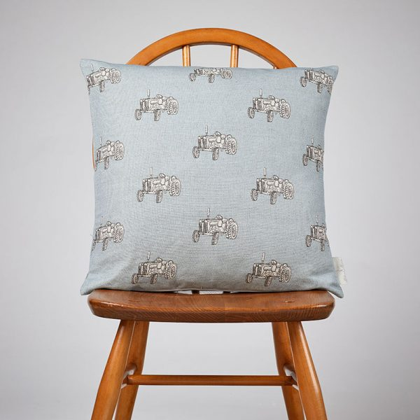 Milton and Manor Vintage Tractor on Blue Medium Cushion