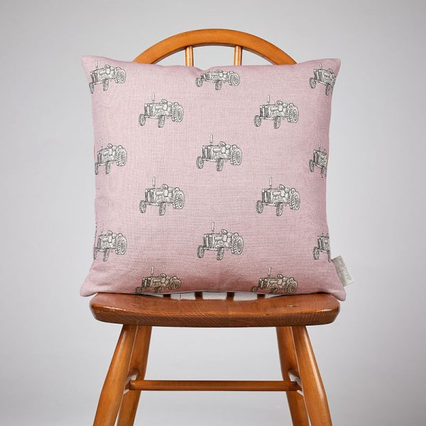Milton and Manor Vintage Tractor on Pink Medium Cushion