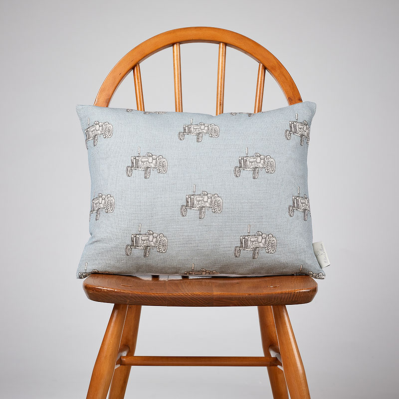 Milton and Manor Vintage Tractor Blue rectangle cushion