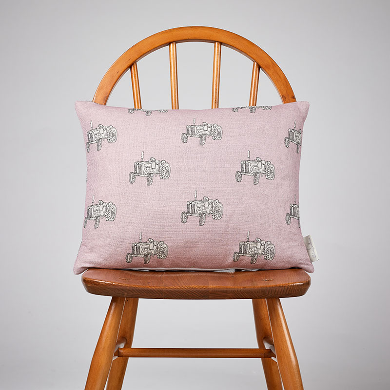 Milton and Manor Vintage Tractor Pink rectangle cushion