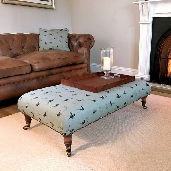 Milton and Manor Pheasant Fun on Duck Egg rectangle footstool