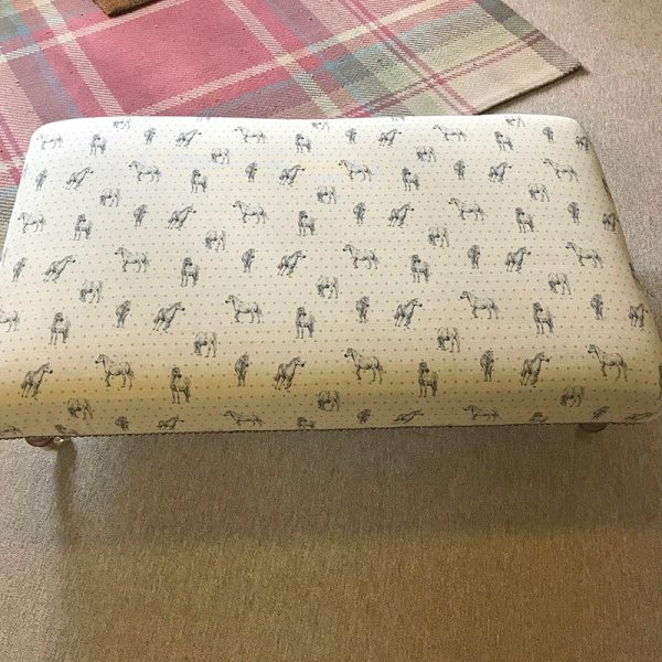 Milton and Manor Pony Grey with duck egg spots rectangle footstool