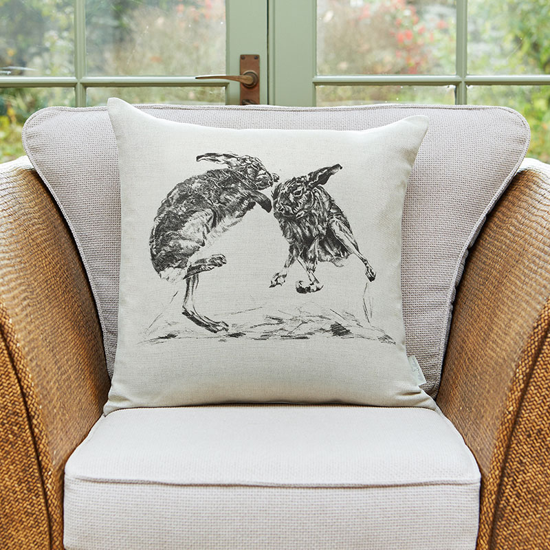 Milton and Manor Boxing hares large cushion