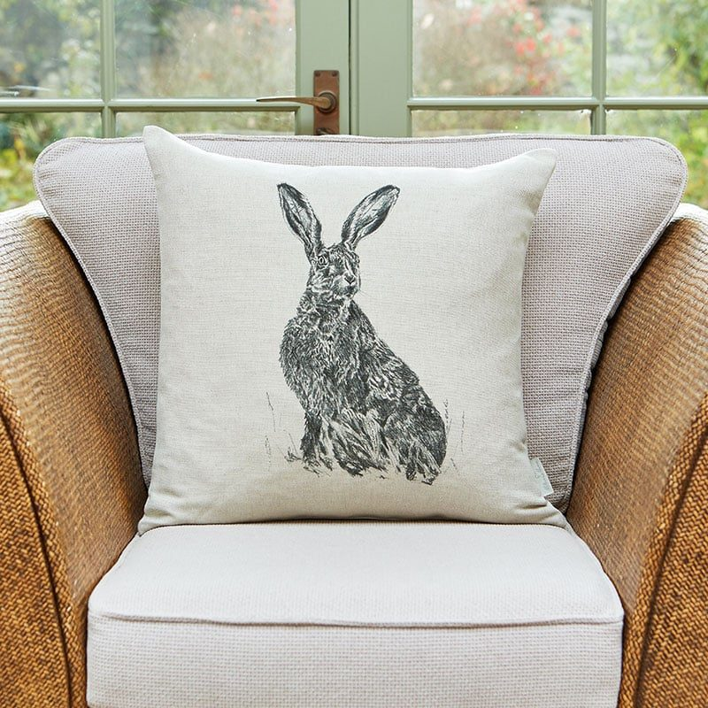 Milton and Manor sitting hare cushion