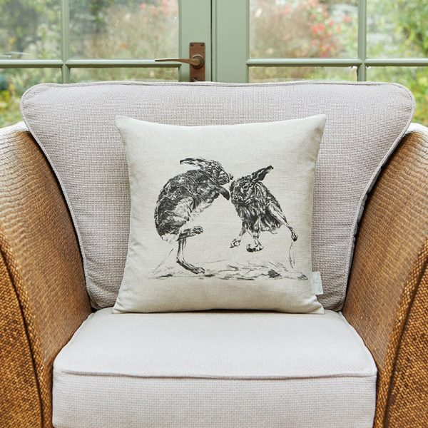 Milton and Manor Boxing hares cushion