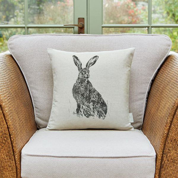 Milton and Manor sitting hare medium cushion