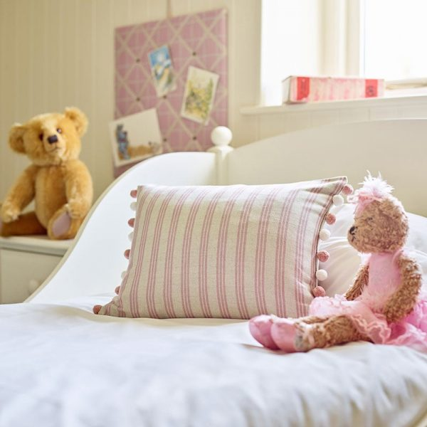 Milton and Manor rectangle cushion pink stripe with pompoms