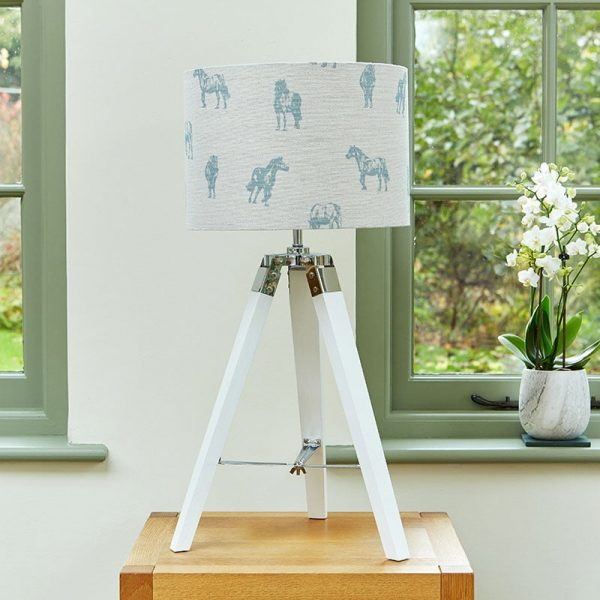 Milton and Manor Blue Pony table lampshade