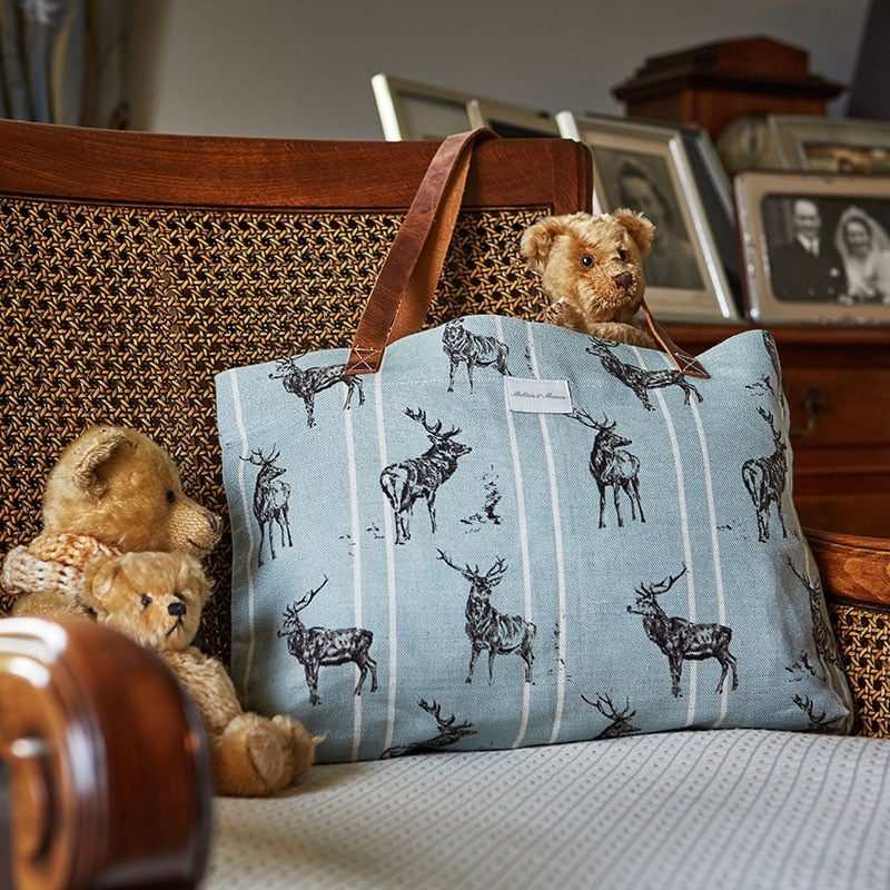 Milton and Manor Stag Parade with stripe on duck egg Linen bag