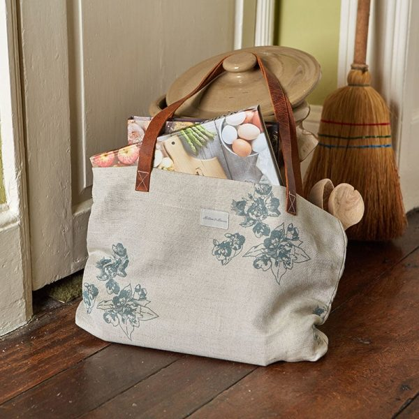 Milton and Manor Sweet Floral blue Linen bag