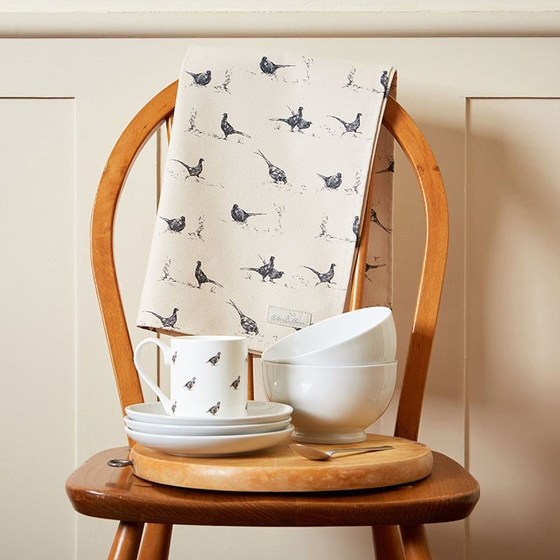 Milton and Manor Pheasant fun tea towel