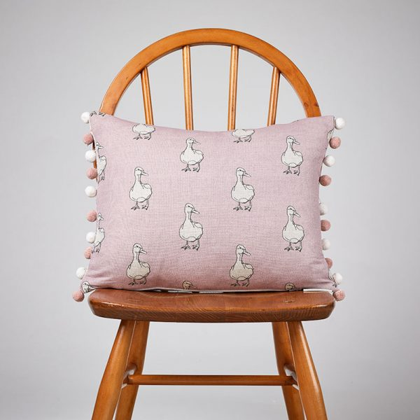 Duck On Pink Rectangle Cushion with Pompoms
