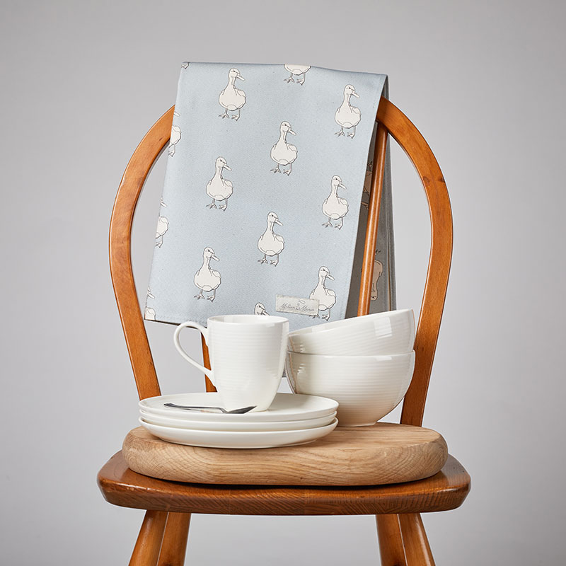 Milton and Manor Duck on Blue Tea Towel lifestyle