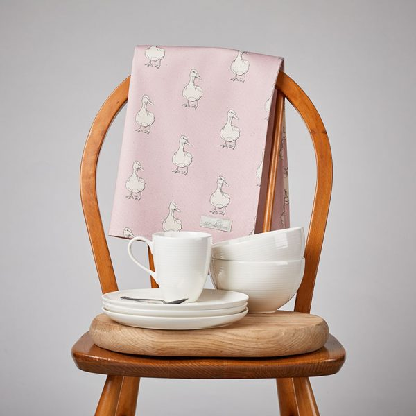 Milton and Manor Duck on Pink Tea Towel
