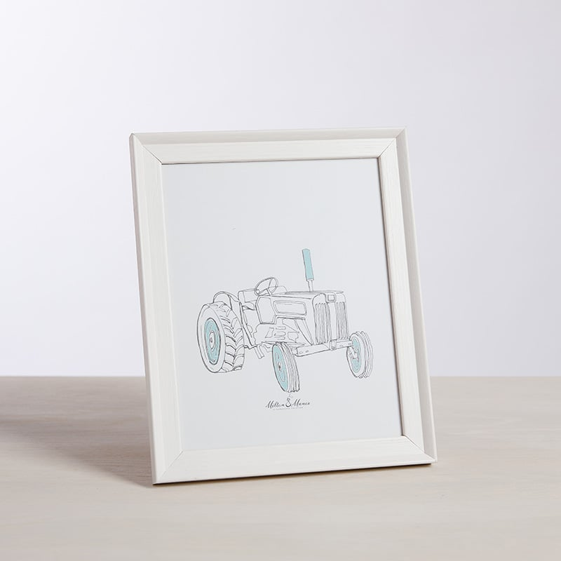Milton and Manor Blue Vintage Tractor Framed Print